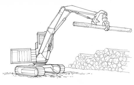 Shovel loader cu sistem de braţ cu călcâi (live heel boom) şi graifer