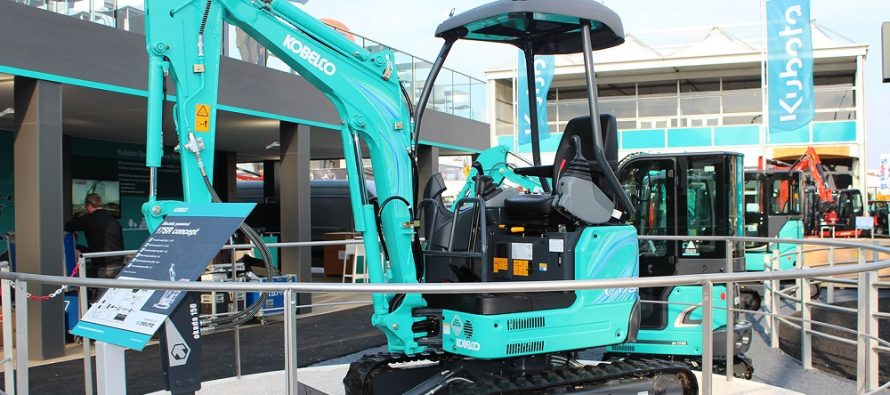 Kobelco debuted its first electric powered 17SR mini excavator concept at Bauma 2019
