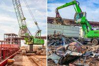 Excavatorul manipulator Sennebogen 821 E și macaraua duty cycle 640 încarcă și compactează fier vechi în Portul Constanța