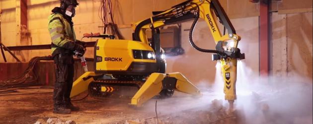 Brokk introduce pe roboții săi pentru demolări un sistem de pulverizare a apei sub formă de ceață